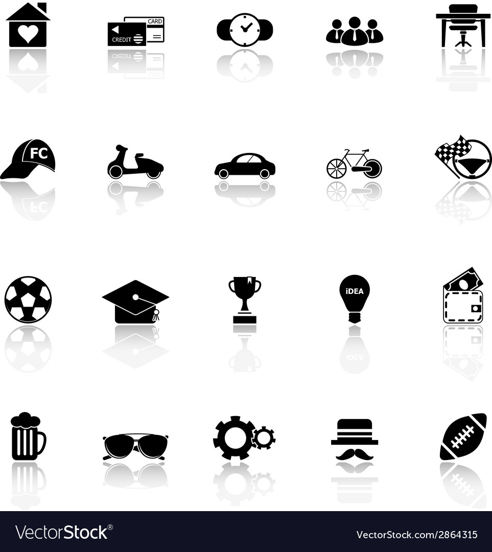 Normal gentleman icons with reflect on white vector | Price: 1 Credit (USD $1)