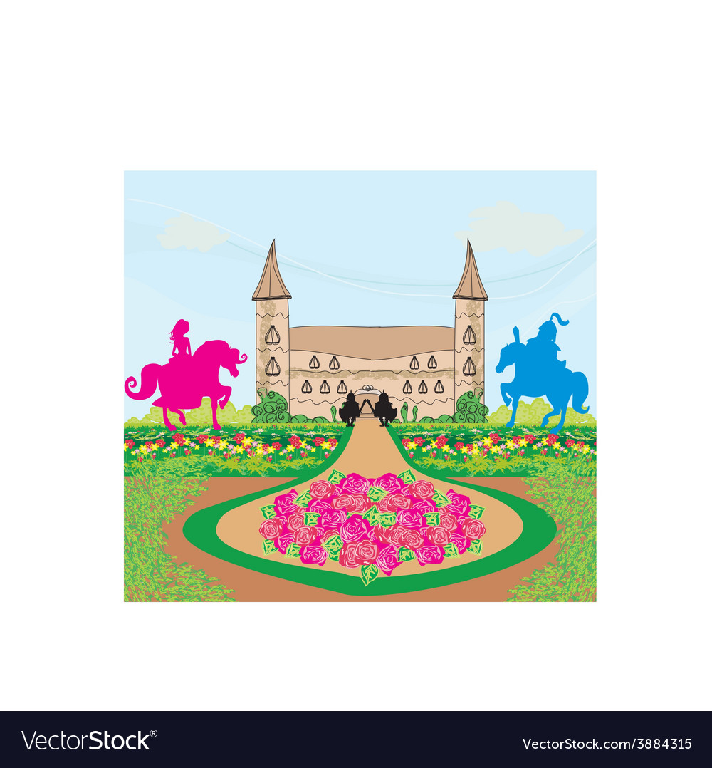 Prince and princess on their horses vector