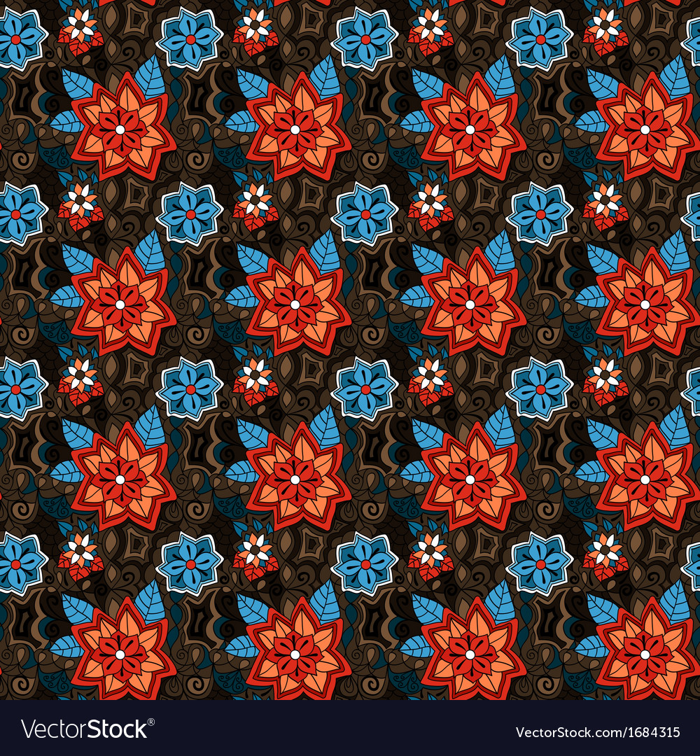 Seamless colorful summer floral pattern vector | Price: 1 Credit (USD $1)
