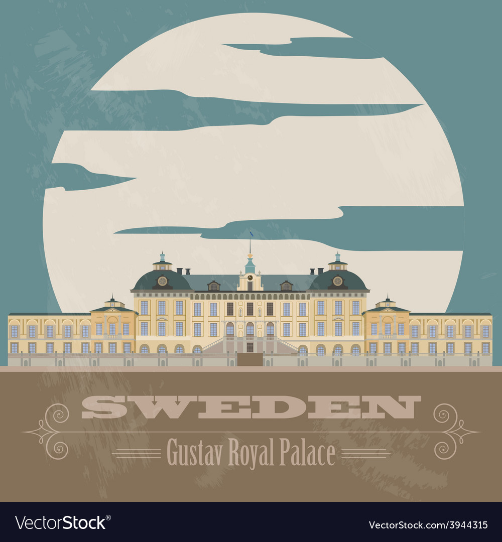 Sweden landmarks retro styled image vector | Price: 1 Credit (USD $1)