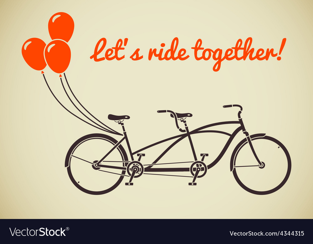 Tandem bicycle with balloons vector | Price: 1 Credit (USD $1)