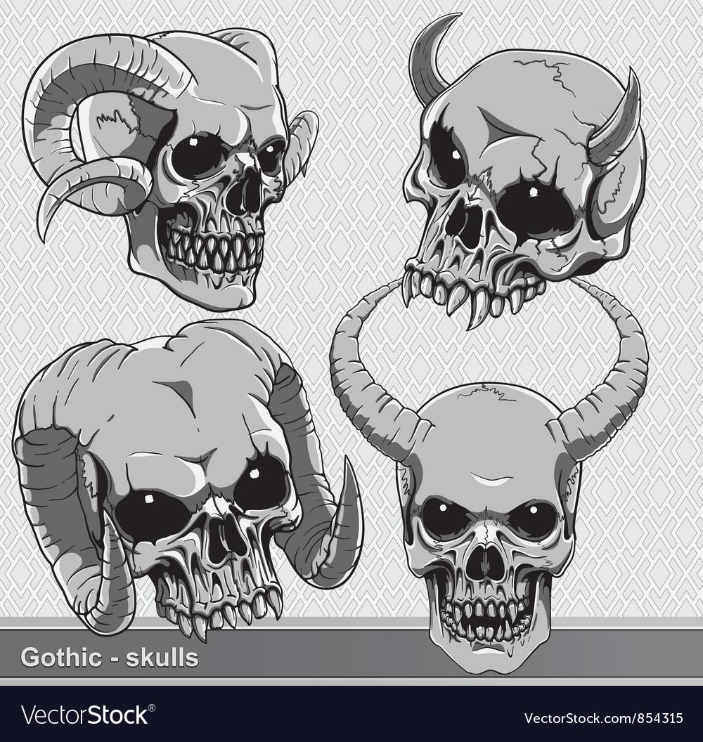 Vintage skulls set vector | Price: 1 Credit (USD $1)