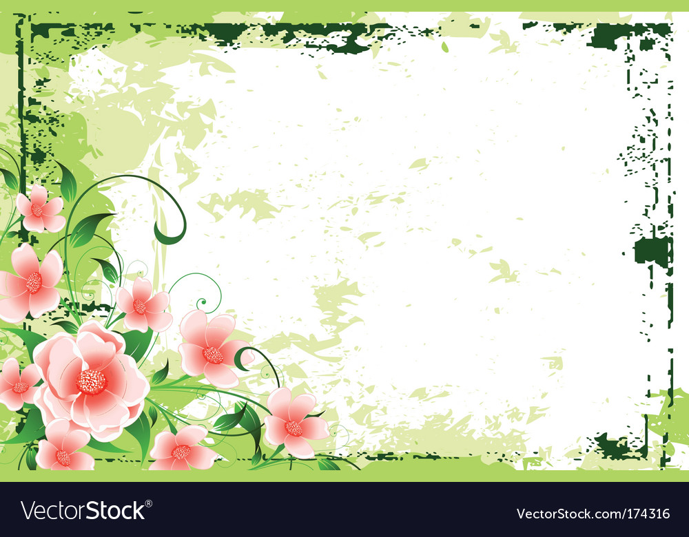 Abstract grunge background with flowers vector | Price: 1 Credit (USD $1)