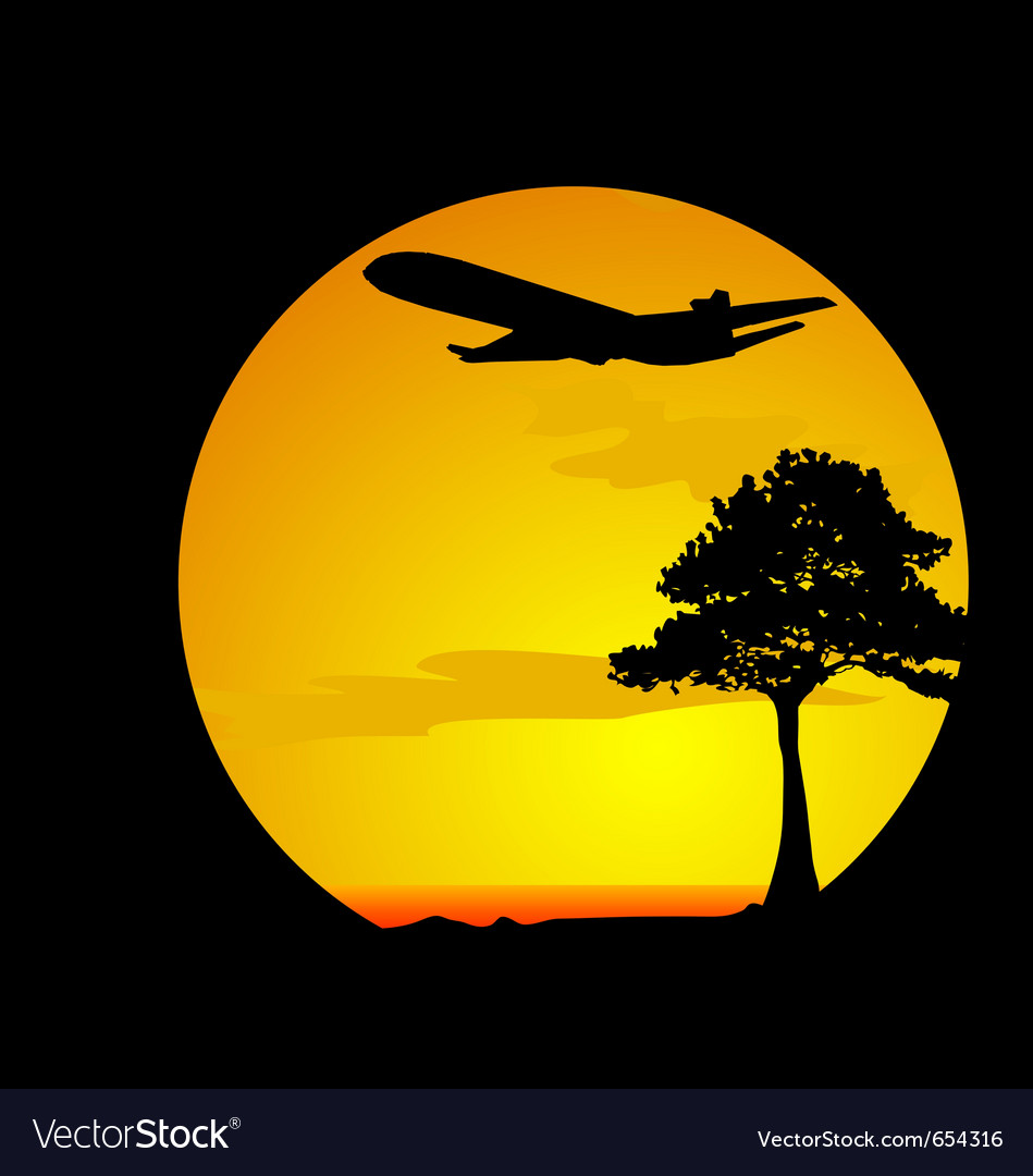 Airplane over the desert vector | Price: 1 Credit (USD $1)