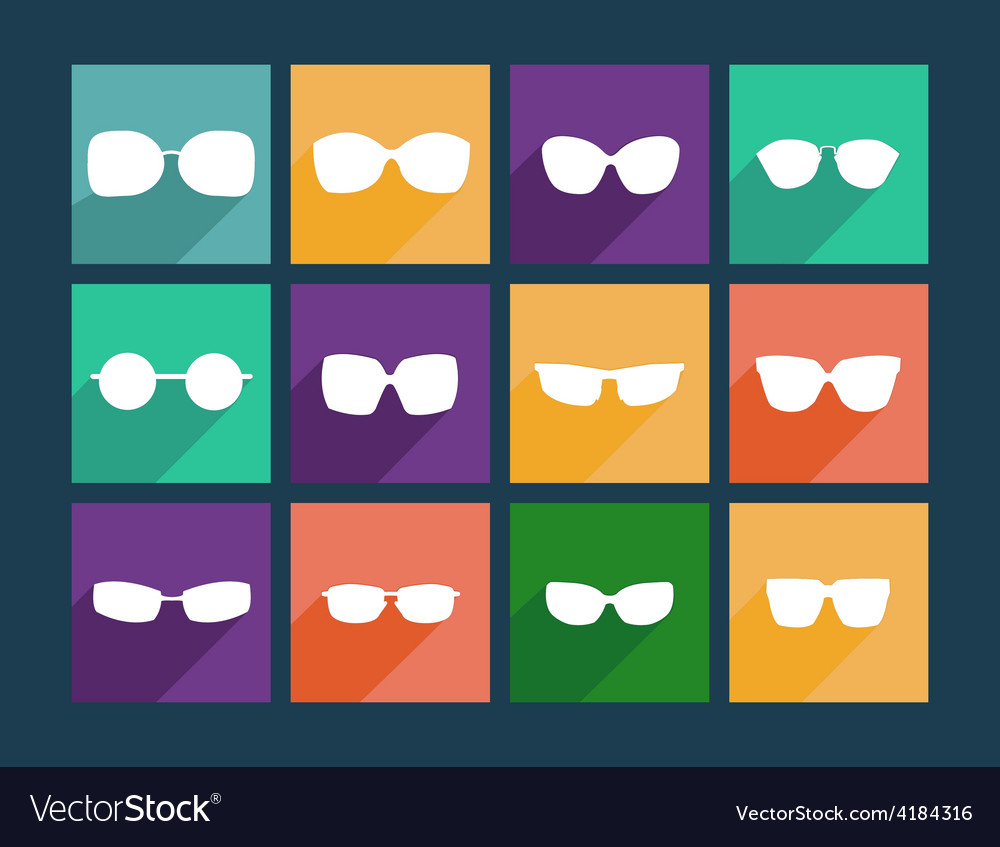 Glasses icons silhouette of sunglasses vector | Price: 1 Credit (USD $1)