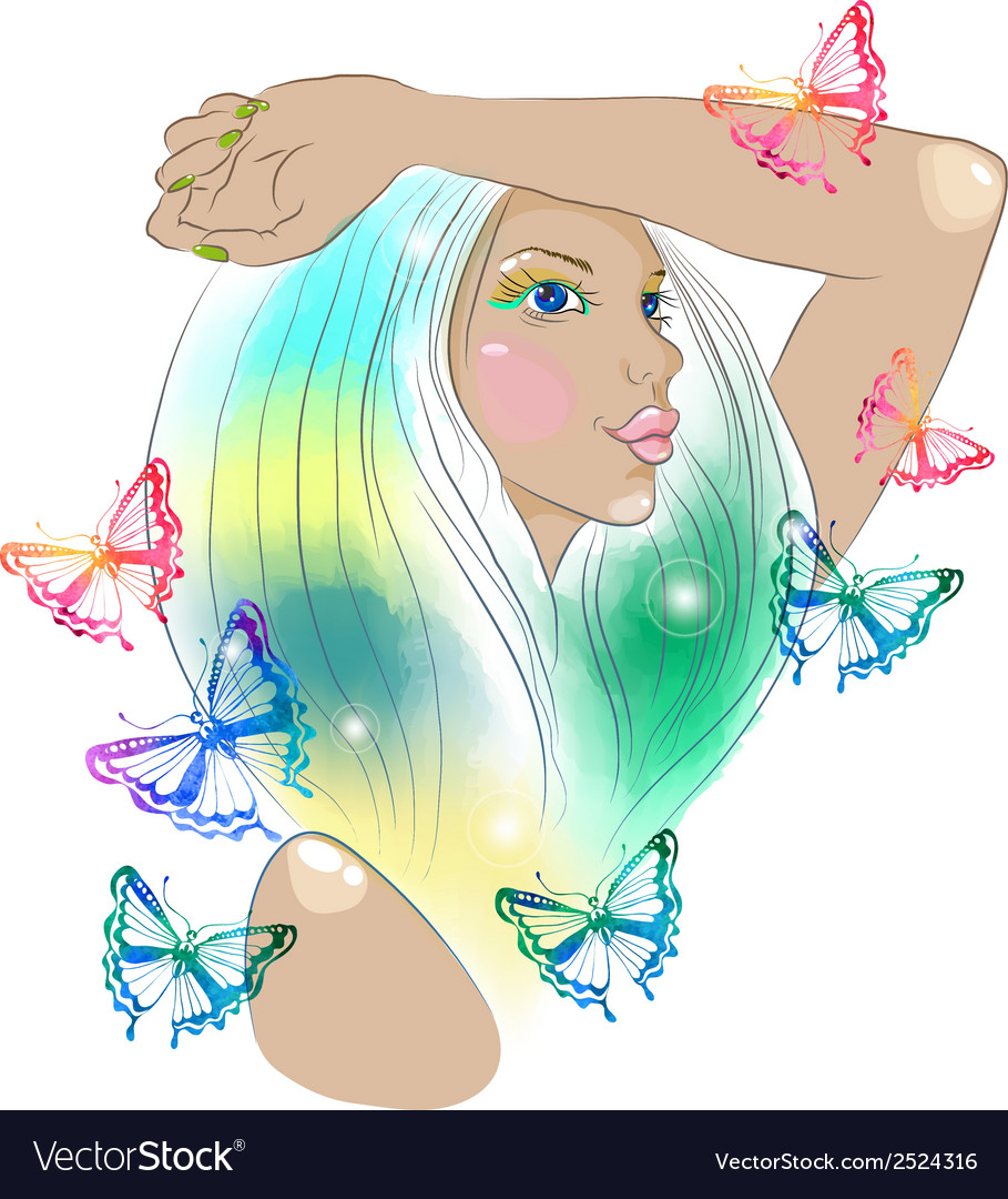 Hand drawn beautiful woman with butterfly vector | Price: 1 Credit (USD $1)