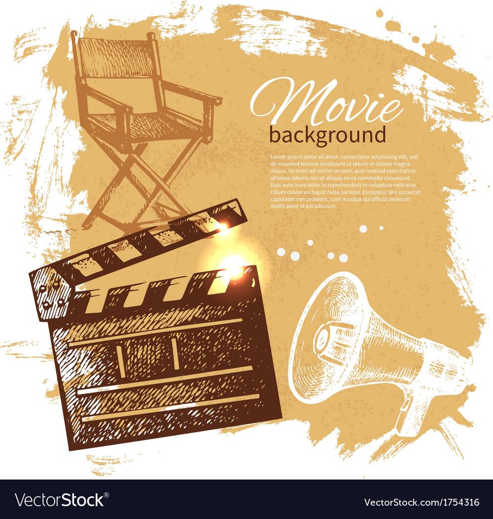 Hand drawn vintage movie and cinema background vector | Price: 1 Credit (USD $1)