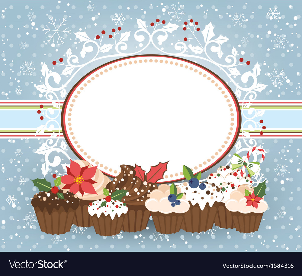 Holiday card with christmass muffins vector | Price: 1 Credit (USD $1)