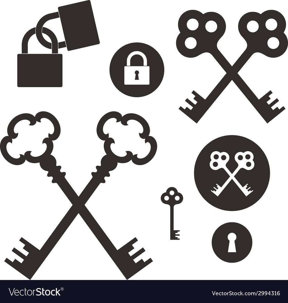 Key lock icon set vector | Price: 1 Credit (USD $1)