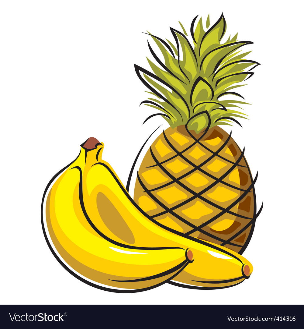 Pineapple and bananas vector | Price: 1 Credit (USD $1)