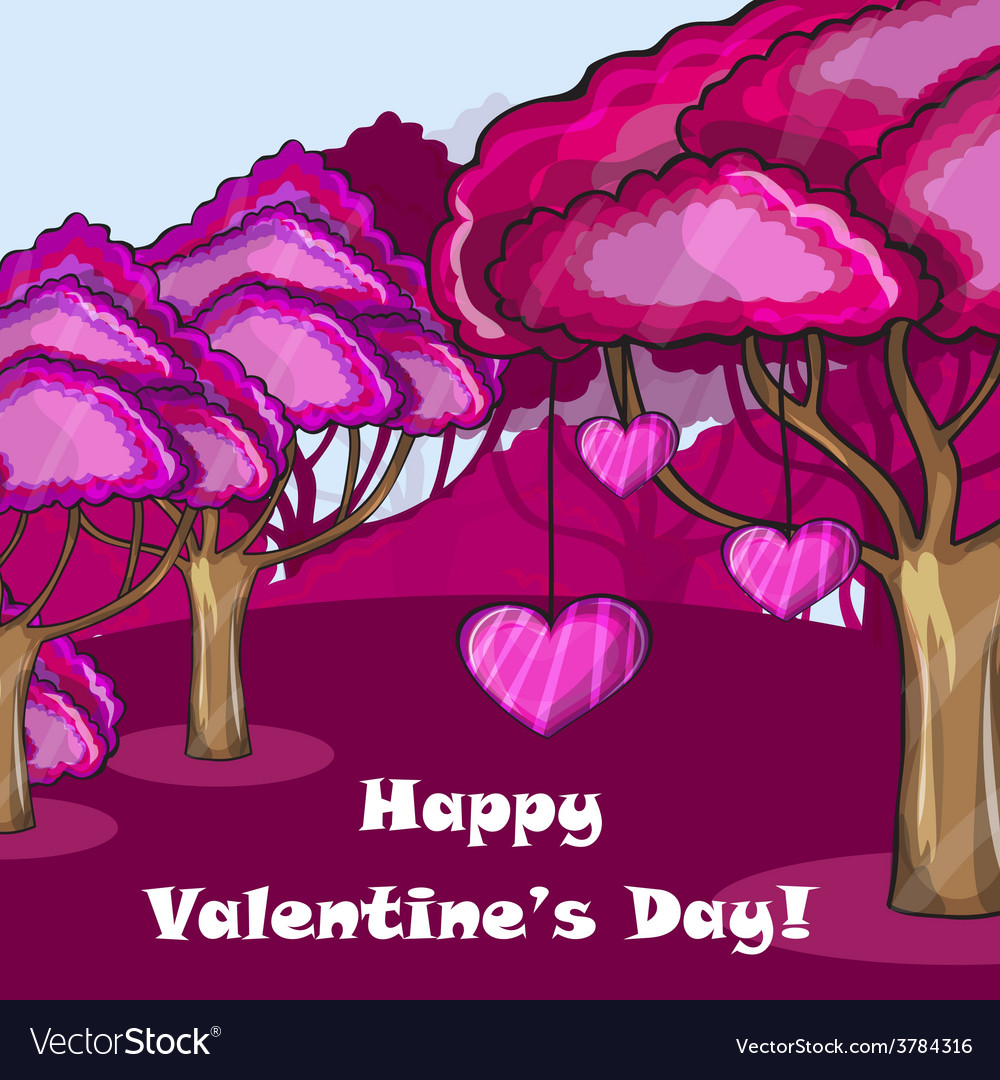 Pink forest with hearts vector | Price: 1 Credit (USD $1)