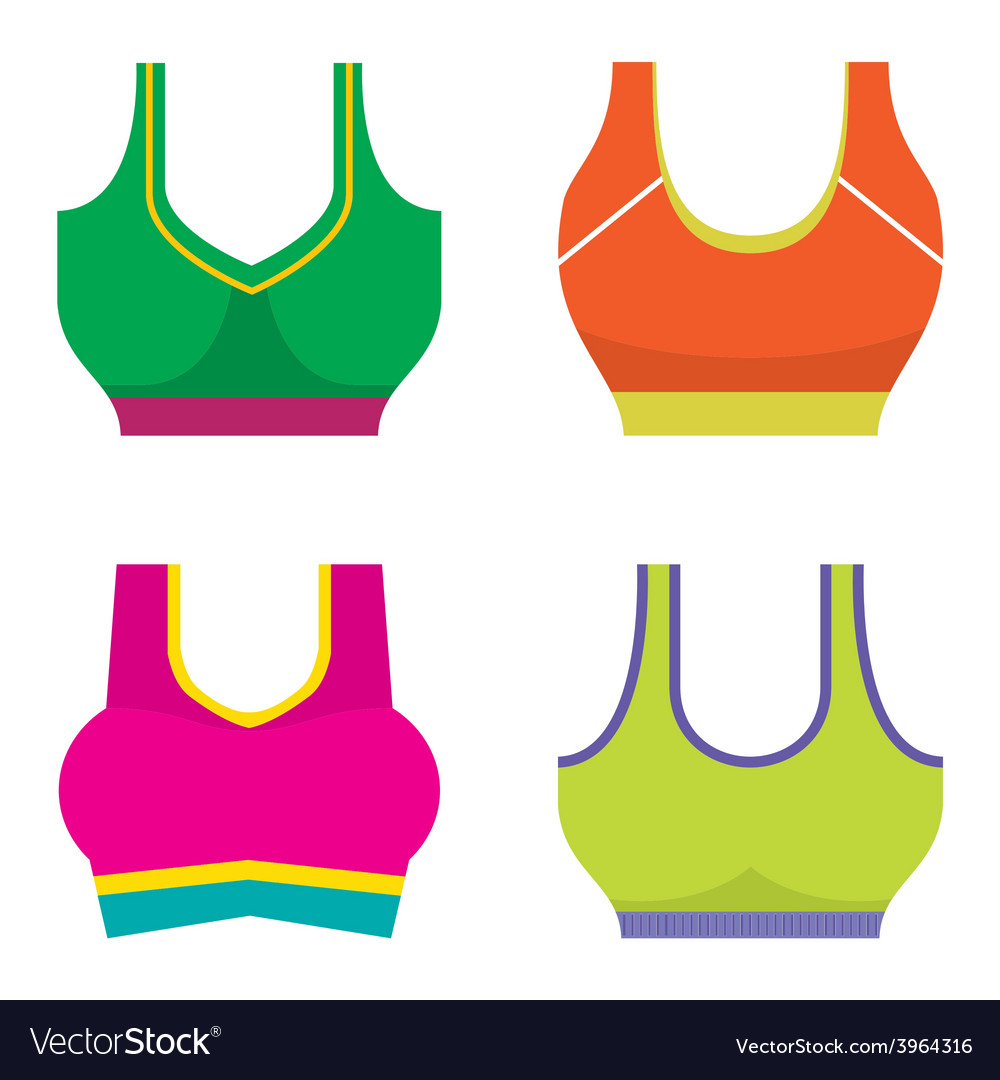 Set of colorful women sport bra vector | Price: 1 Credit (USD $1)