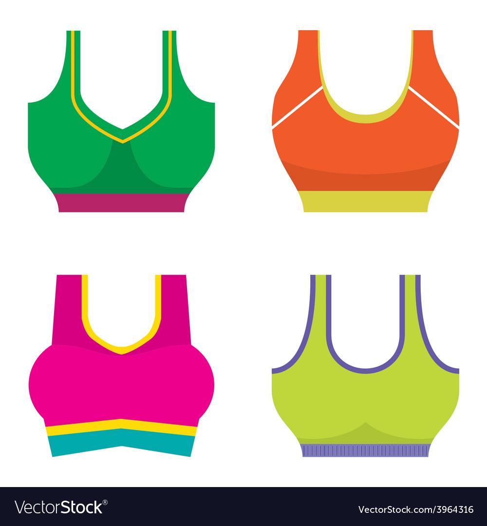 Set of colorful women sport bra vector | Price: 1 Credit (USD $1)