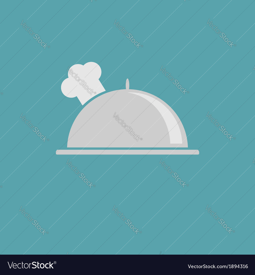 Silver platter cloche and chefs hat icon vector | Price: 1 Credit (USD $1)