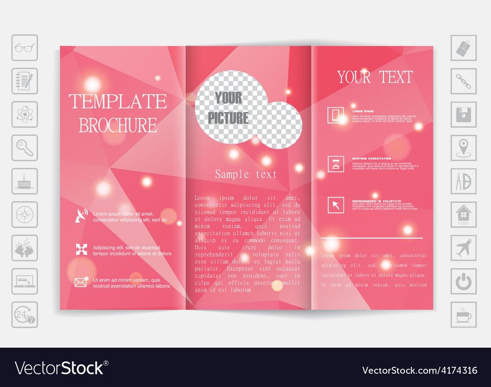 Tri-fold brochure mock up design polygonal vector | Price: 1 Credit (USD $1)