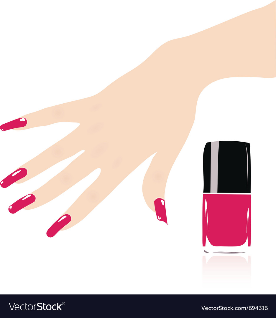 Woman hand with red fingernails vector | Price: 1 Credit (USD $1)