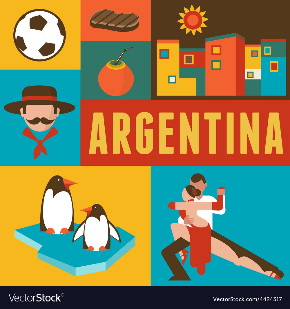 Argentina poster and background with set of icons vector | Price: 1 Credit (USD $1)