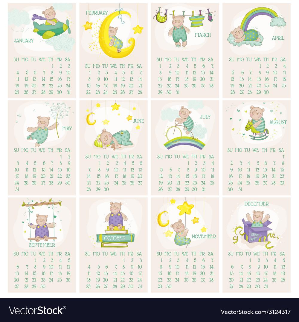 Baby bear calendar 2015 vector | Price: 1 Credit (USD $1)