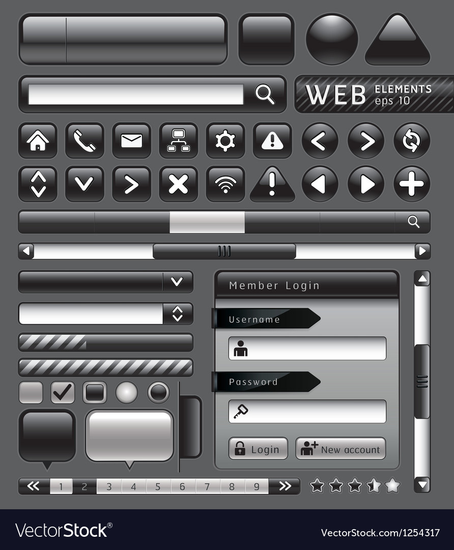 Blank buttons for website vector | Price: 3 Credit (USD $3)