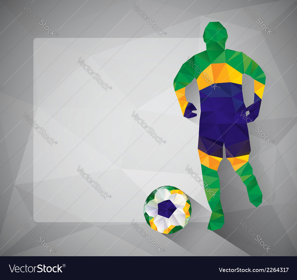 Brazilian football player with ball in triangles vector | Price: 1 Credit (USD $1)
