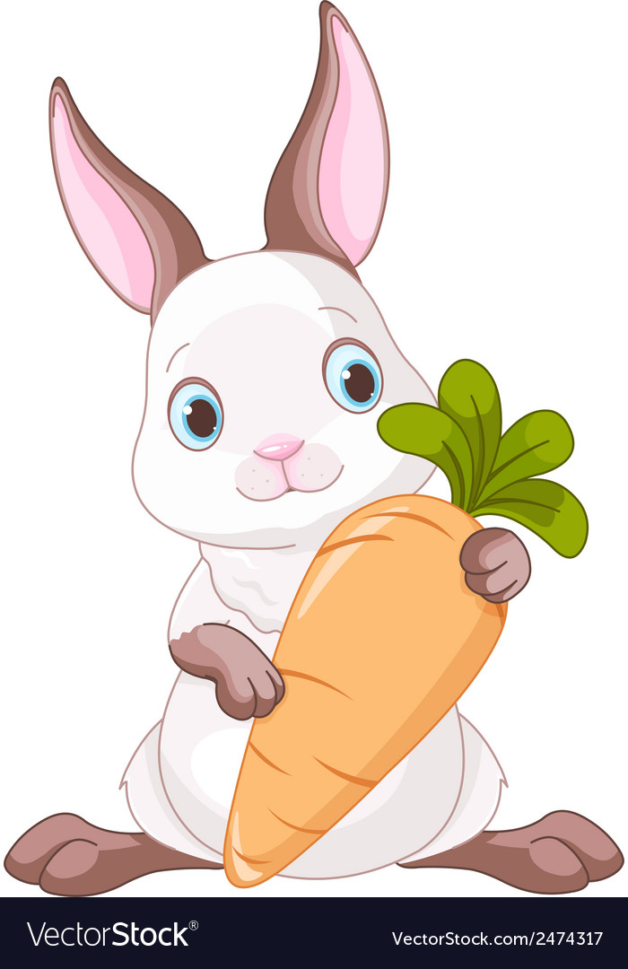 Bunny with carrot vector | Price: 1 Credit (USD $1)