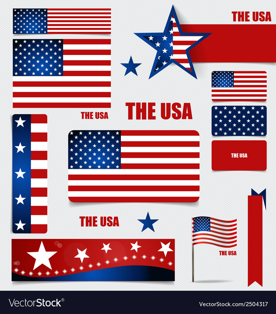 Collection of american flags flags concept design vector | Price: 1 Credit (USD $1)