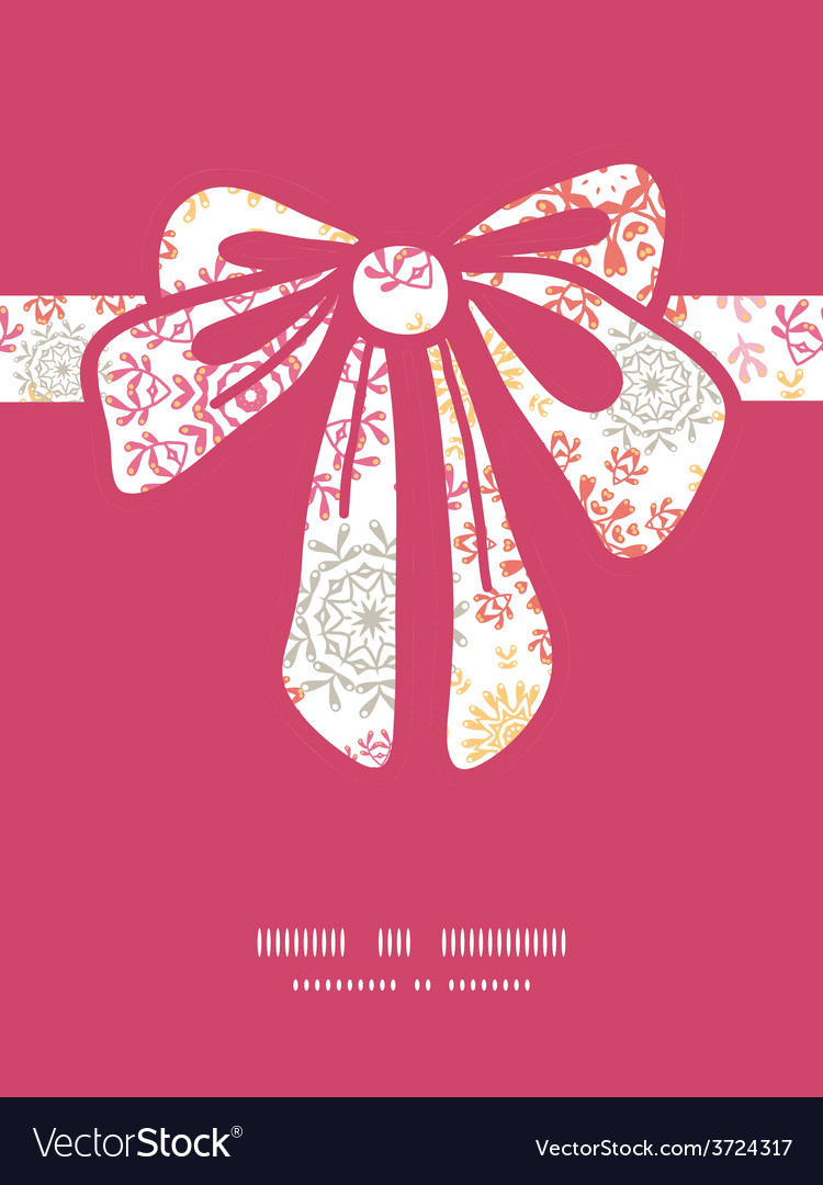 Folk floral circles abstract gift bow vector | Price: 1 Credit (USD $1)