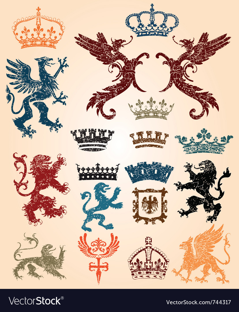 Heraldry set and retro background vector | Price: 1 Credit (USD $1)