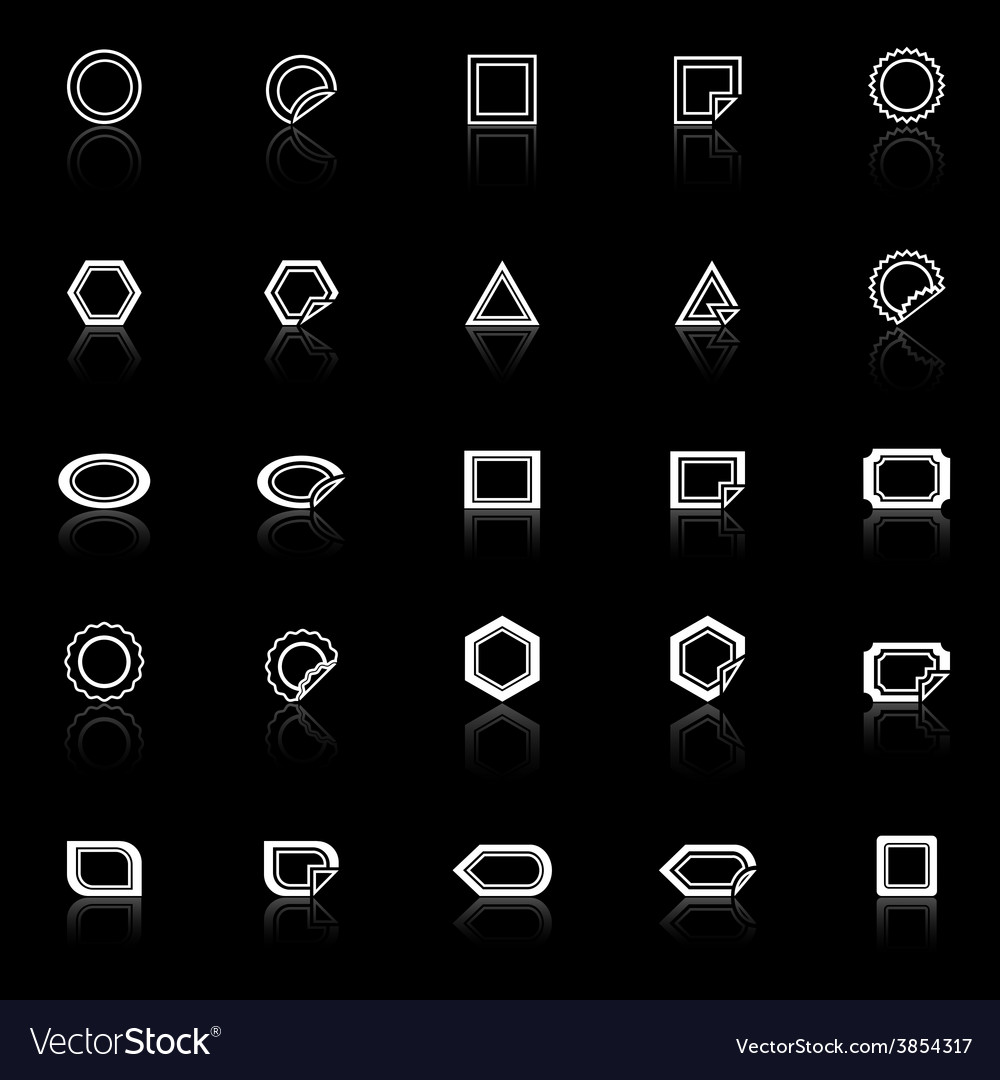 Label line icons with reflect on black background vector | Price: 1 Credit (USD $1)