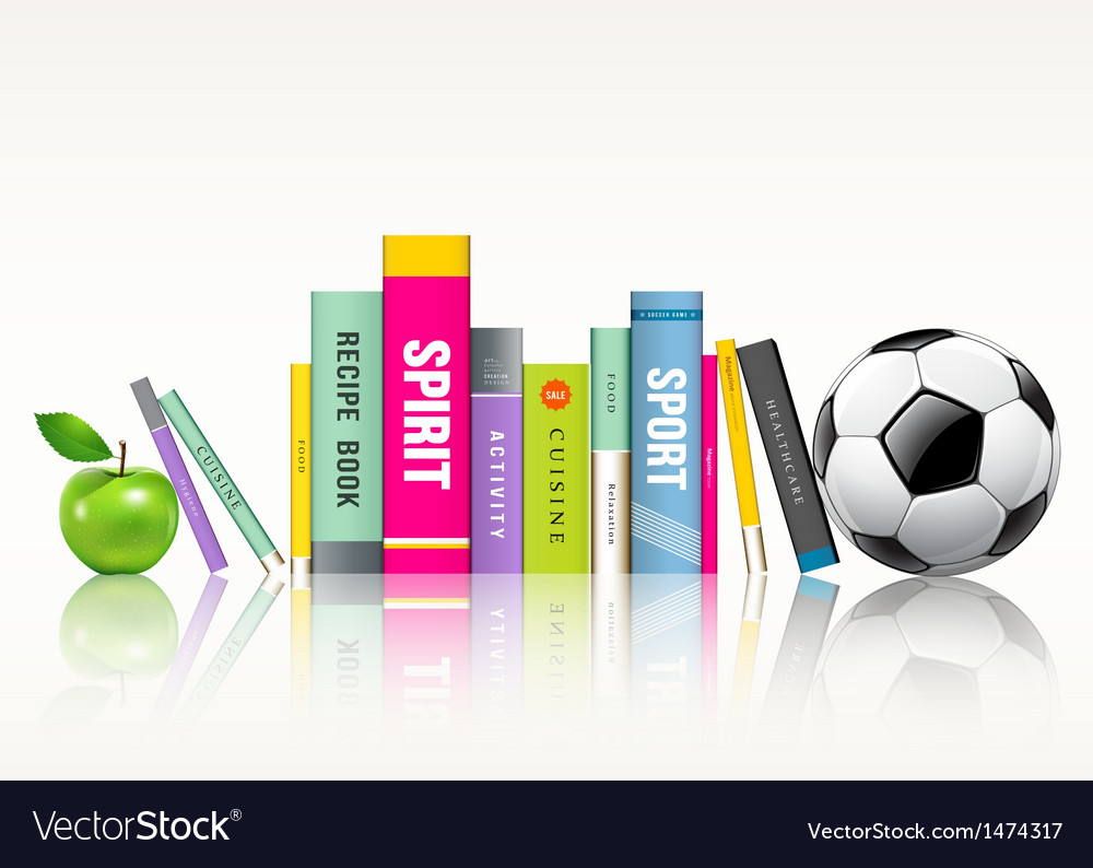 Row of colorful books soccer ball and green apple vector | Price: 1 Credit (USD $1)