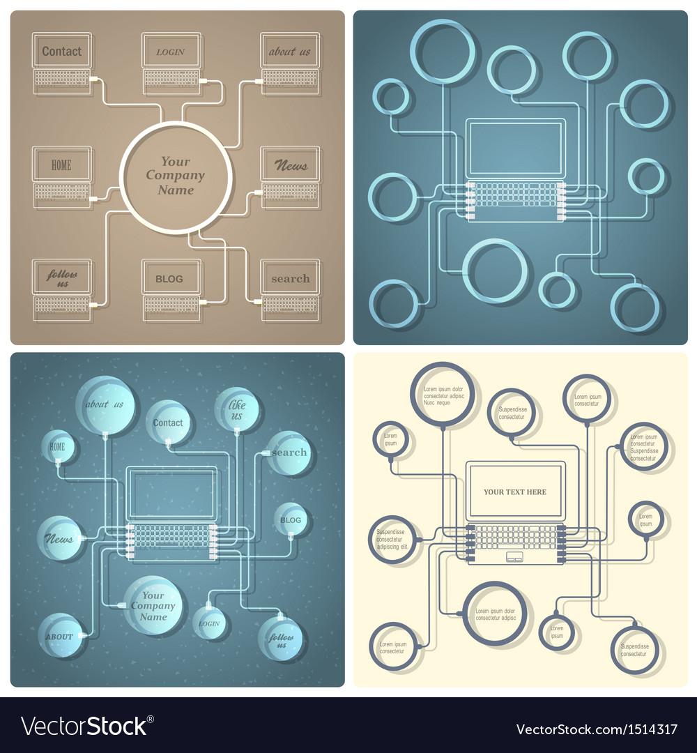 Set of creative web design templates vector | Price: 1 Credit (USD $1)