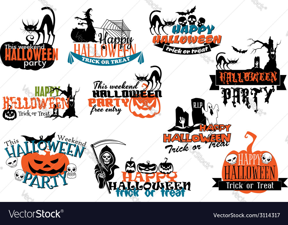 Set of happy halloween banners vector | Price: 1 Credit (USD $1)