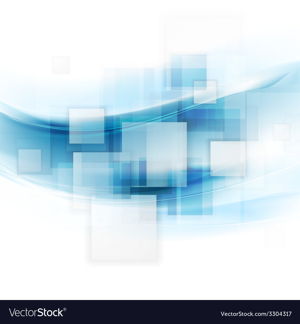 Shiny blue tech background with squares and waves vector | Price: 1 Credit (USD $1)