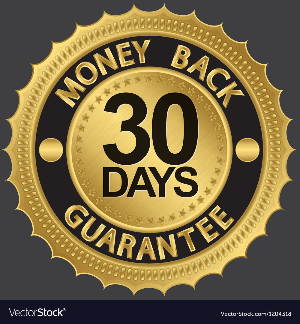 30 days gold money back guarantee label vector | Price: 1 Credit (USD $1)
