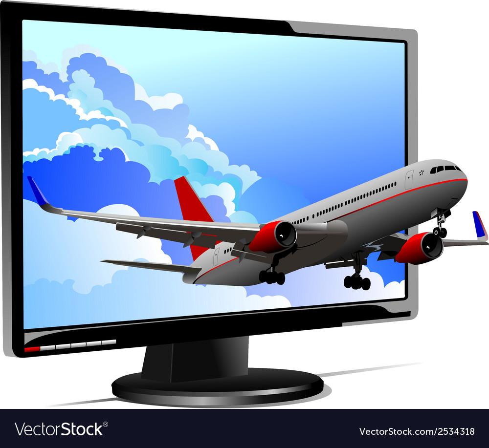 Al 0944 plane and monitor vector | Price: 1 Credit (USD $1)