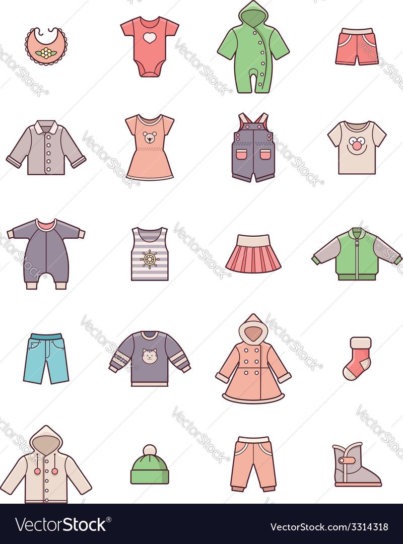 Baby clothes icon set vector | Price: 1 Credit (USD $1)