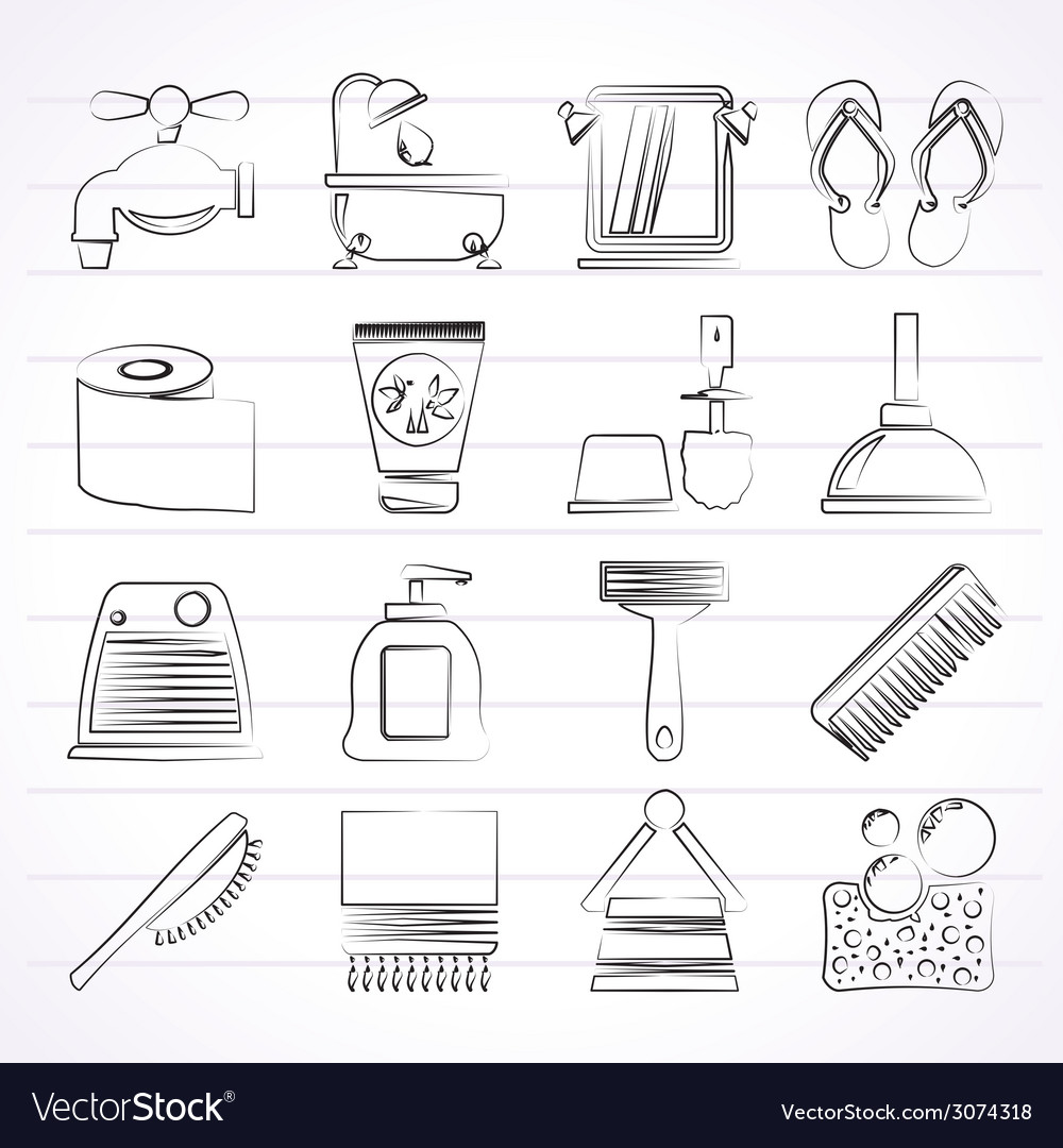Bathroom and personal care icons vector | Price: 1 Credit (USD $1)