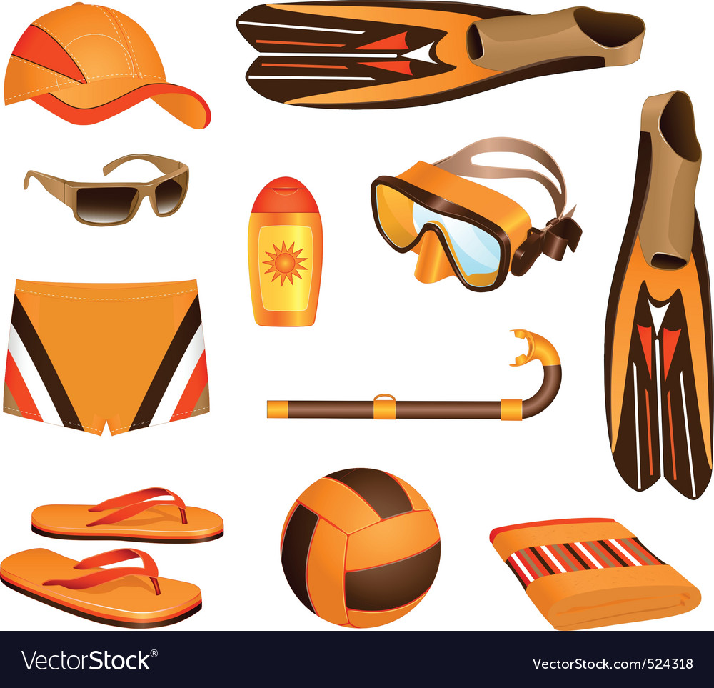 Beach accessories for man vector | Price: 1 Credit (USD $1)