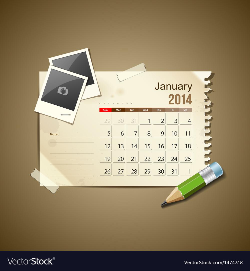 Calendar january 2014 vector | Price: 1 Credit (USD $1)