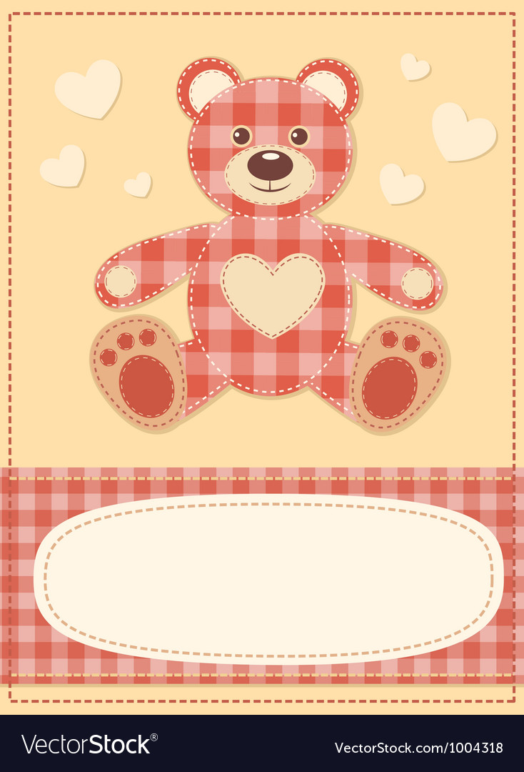 Card with the teddy bear for baby shower 3 vector