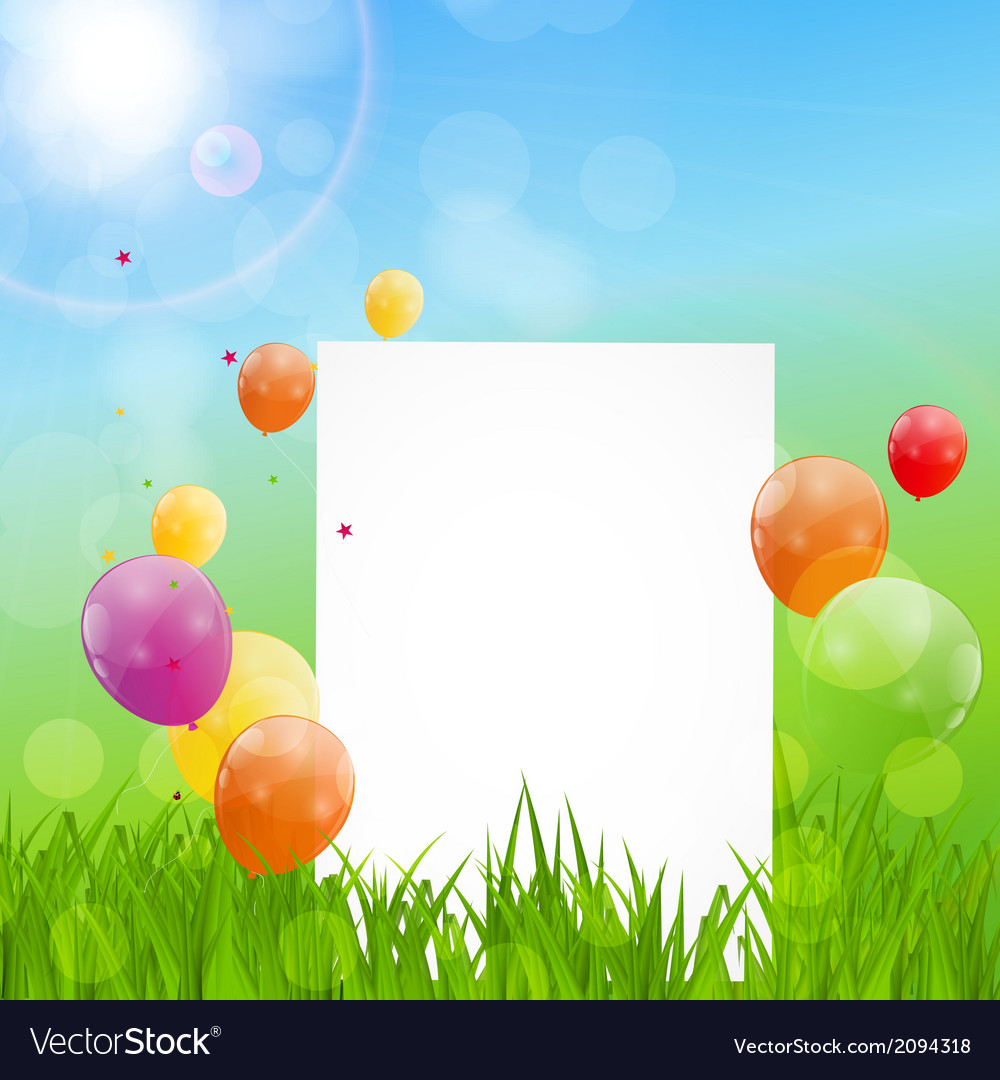 Color glossy balloons birthday card background vector | Price: 1 Credit (USD $1)