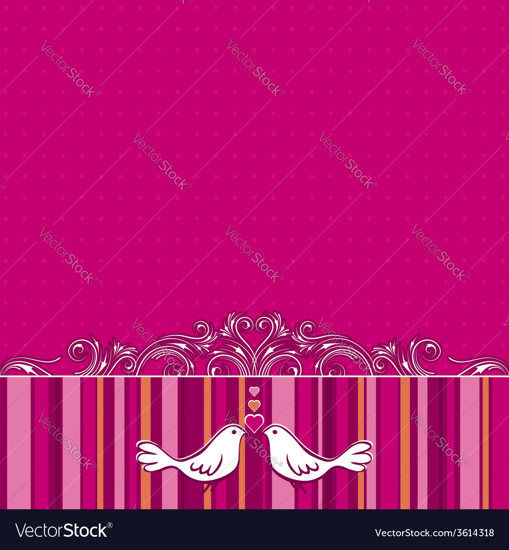 Hand draw doves on pink striped background vector | Price: 1 Credit (USD $1)