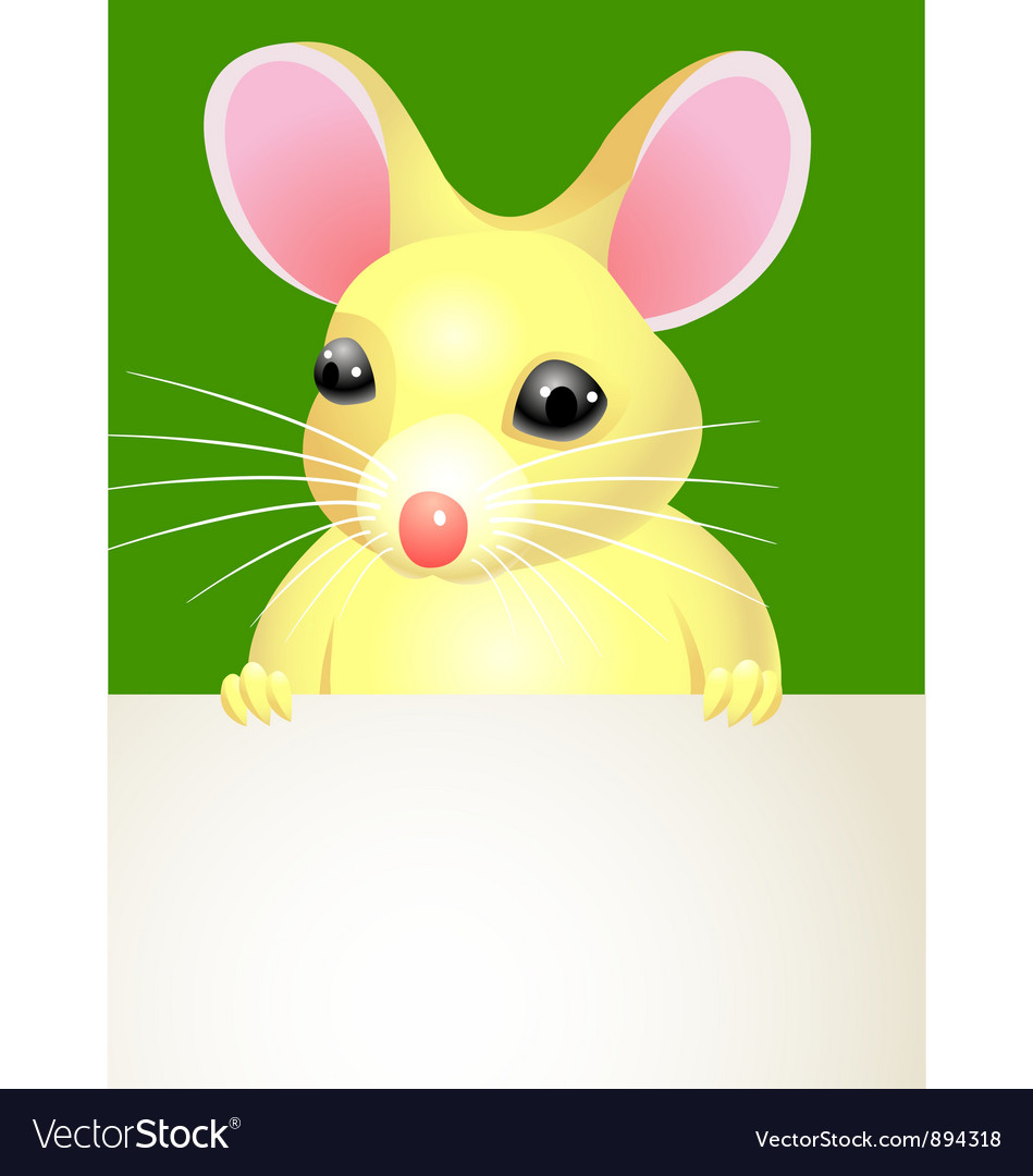 Mouse holding a blank sign vector | Price: 3 Credit (USD $3)