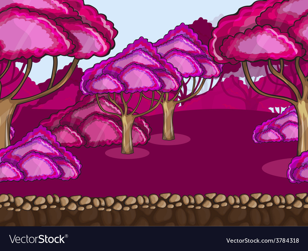 Seamless cartoon forest landscape vector | Price: 1 Credit (USD $1)