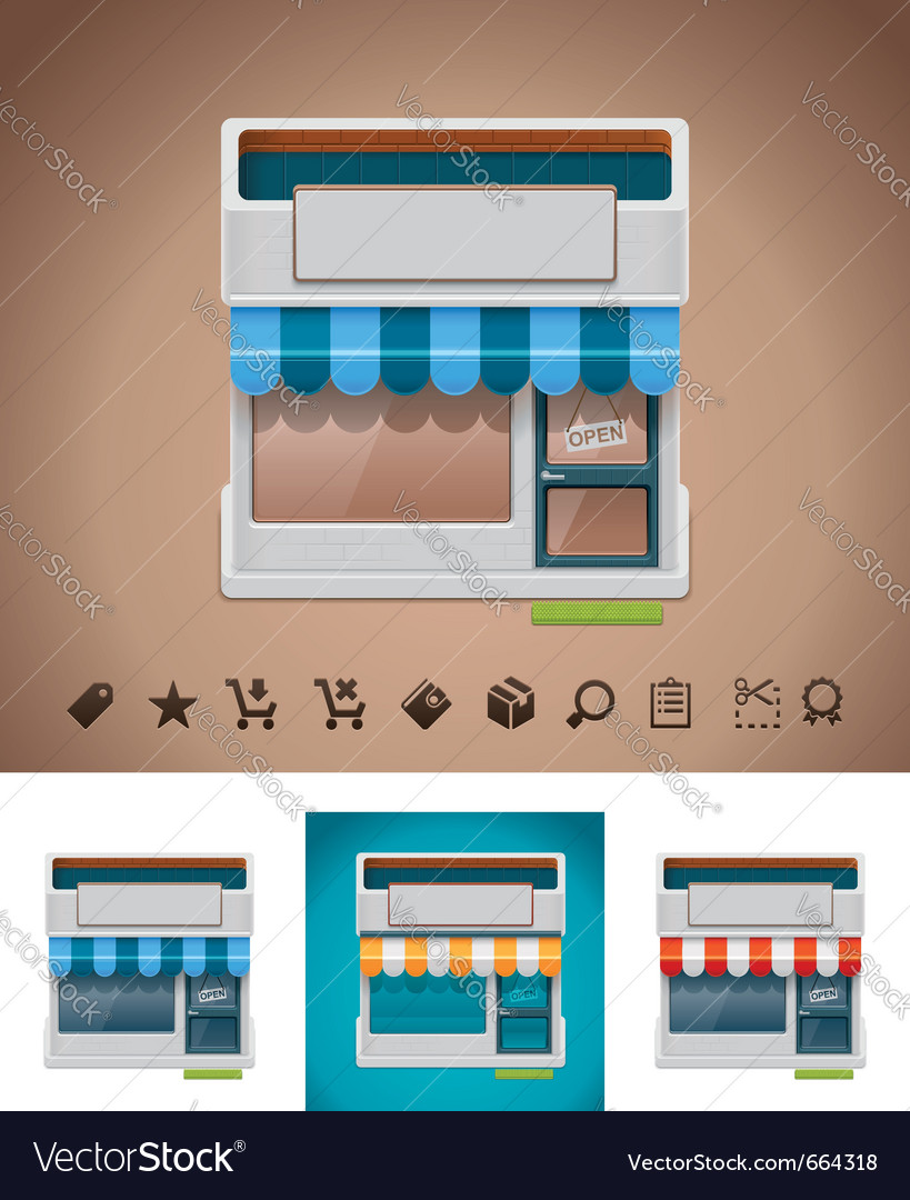 Shop icon with related pictograms vector | Price: 3 Credit (USD $3)
