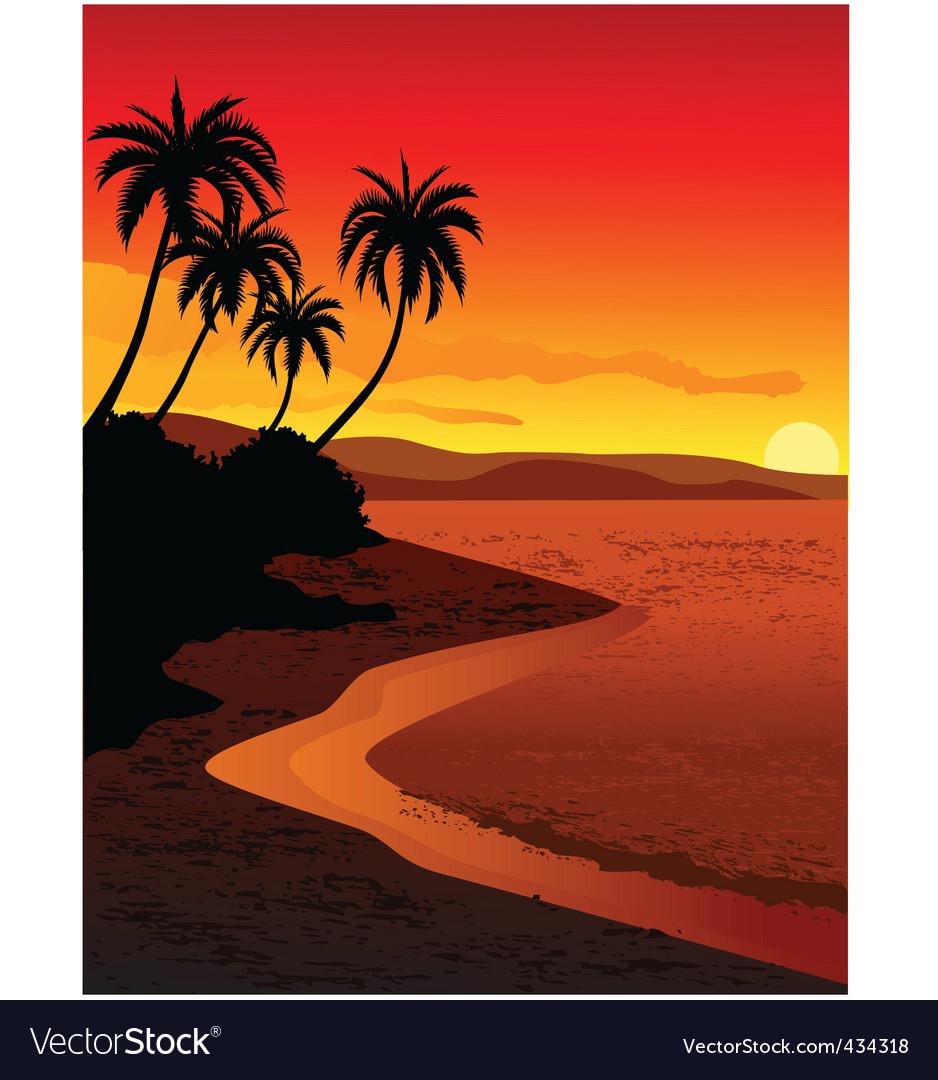 Tropical beach vector | Price: 1 Credit (USD $1)