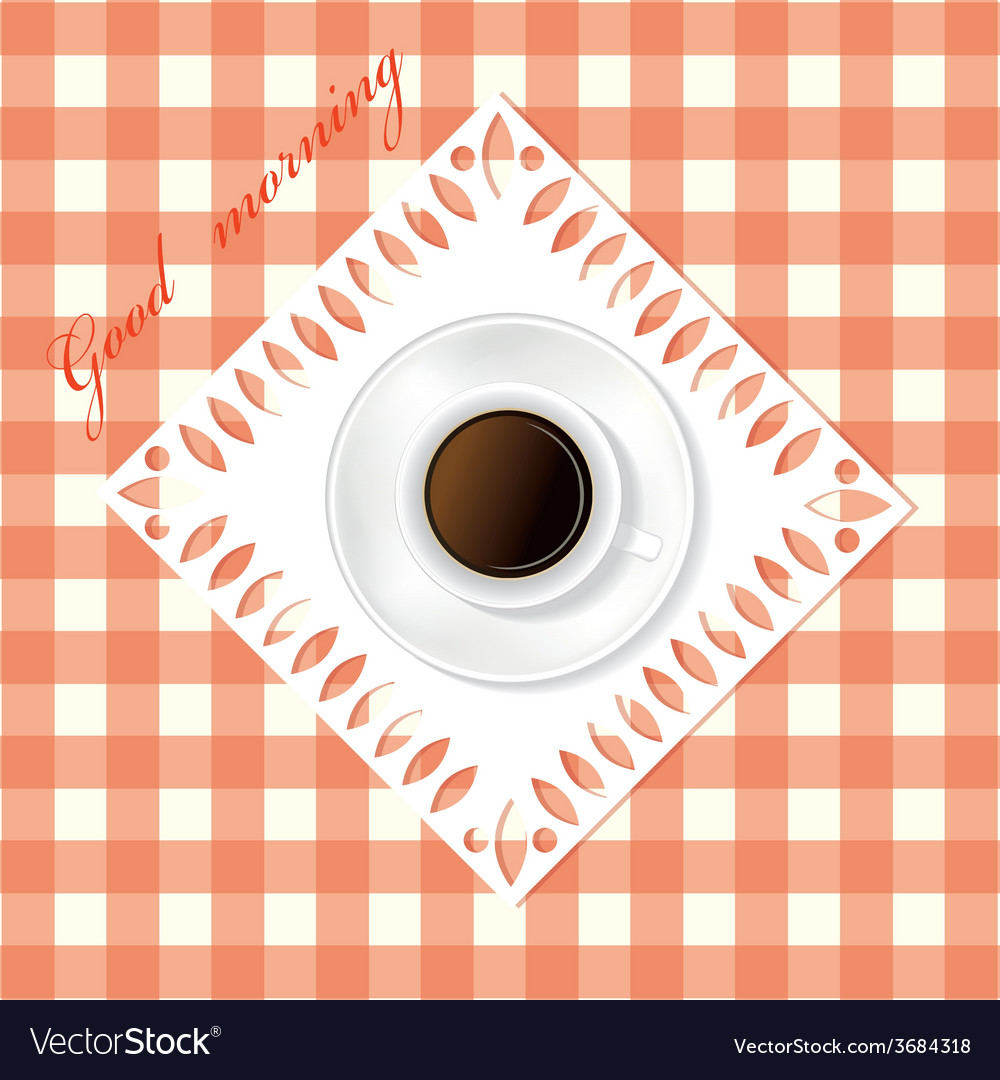 White cup of coffee on the table vector | Price: 1 Credit (USD $1)