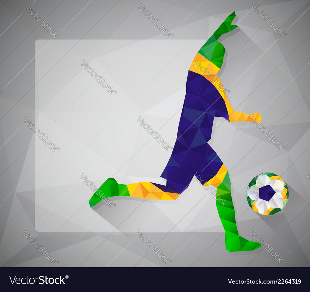 Brazilian football player with ball in triangles2 vector | Price: 1 Credit (USD $1)