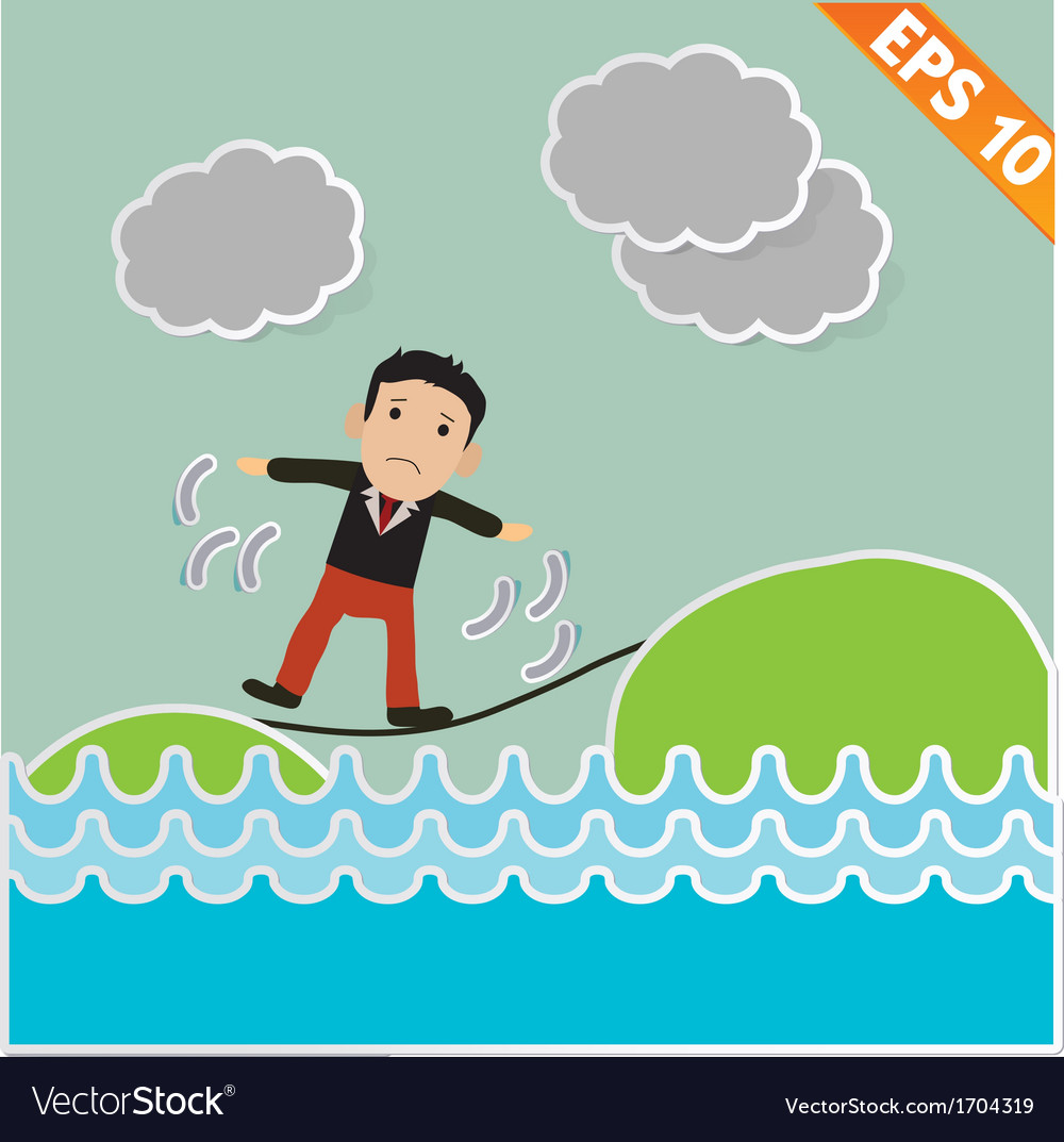 Cartoon businessman walking on the rope - - vector | Price: 1 Credit (USD $1)