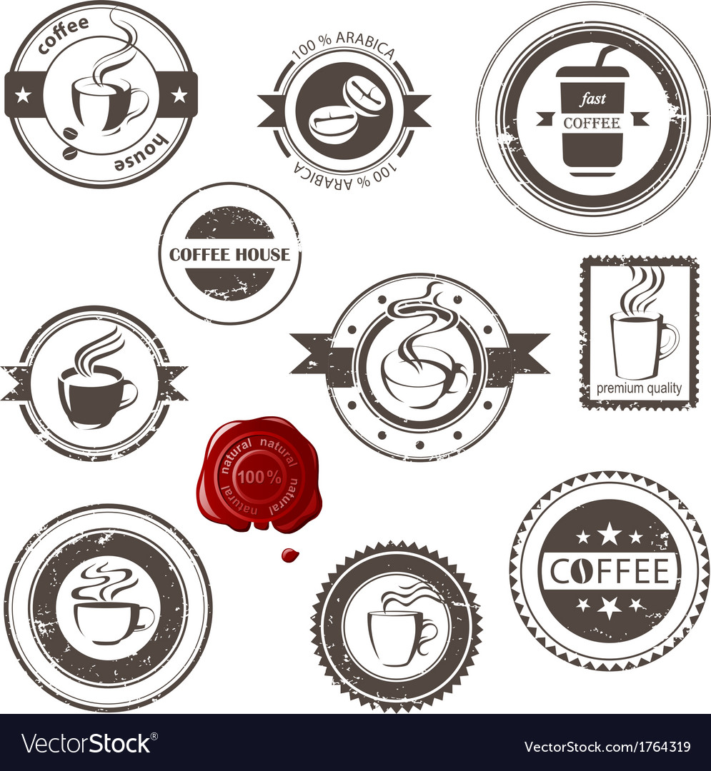 Coffee stamps set vector | Price: 1 Credit (USD $1)